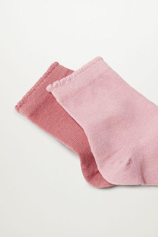 Mango Kids - Detské ponožky SCALLOP (2-pak) ružová