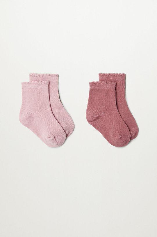 ružová Mango Kids - Detské ponožky WAVE (2-pak) Dievčenský