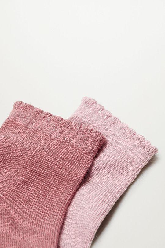 Mango Kids - Detské ponožky WAVE (2-pak) ružová