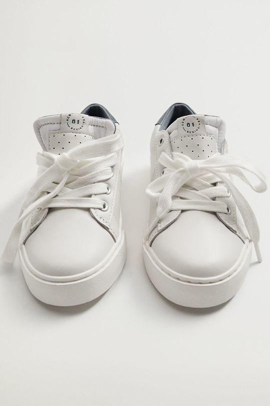 Mango Kids - Detské kožené topánky YOUNG biela