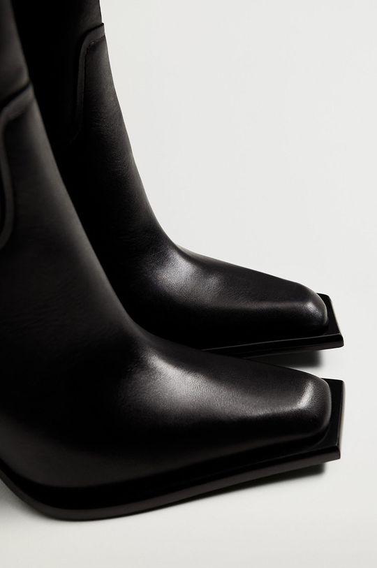 čierna Mango - Kožené členkové topánky GIANNI