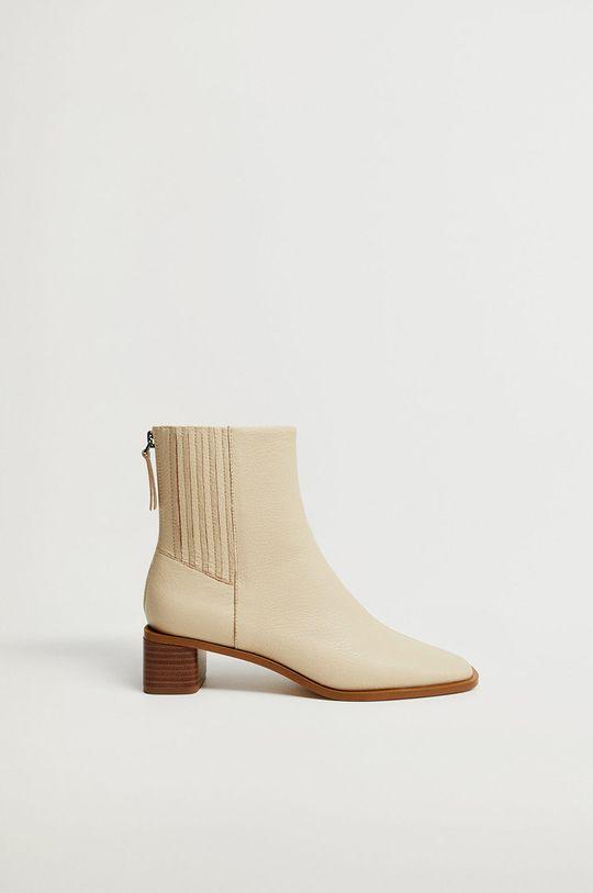 bílá Mango - Kožené kotníkové boty SOFT Dámský