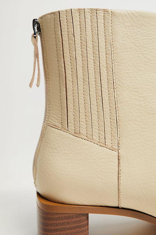 bílá Mango - Kožené kotníkové boty SOFT
