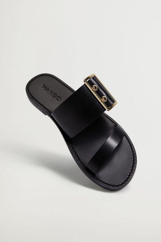 černá Mango - Kožené pantofle Jona