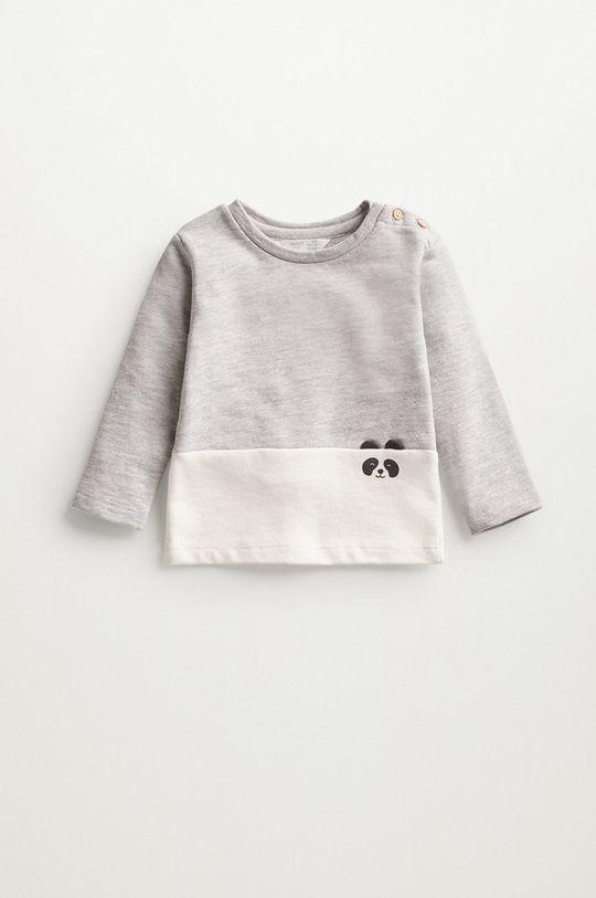 jasny szary Mango Kids - Bluza niemowlęca PANDA Dziecięcy