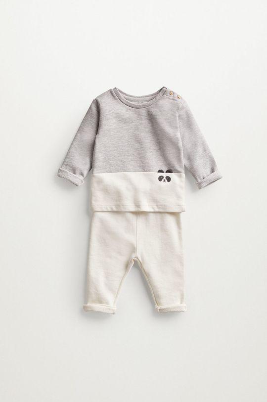 Mango Kids - Bluza niemowlęca PANDA jasny szary