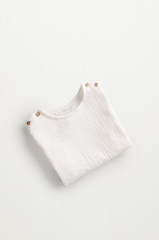 Mango Kids - Bluzka bawełniana niemowlęca FABIO biały