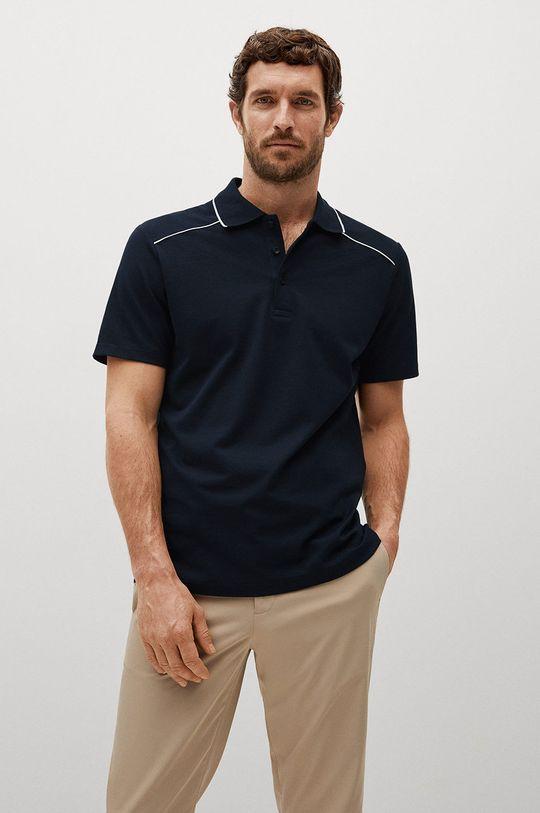 tmavomodrá Mango Man - Polo tričko Pipe Pánsky