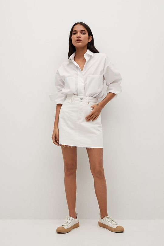 Mango - Rifľová sukňa Rachel biela