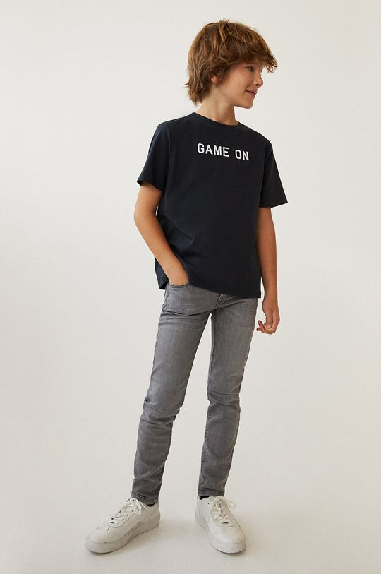 Mango Kids - Jeansy dziecięce Slim 110-164 cm 99 % Bawełna, 1 % Elastan