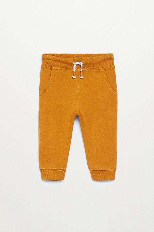 musztardowy Mango Kids - Spodnie dziecięce MATEOP7 Chłopięcy