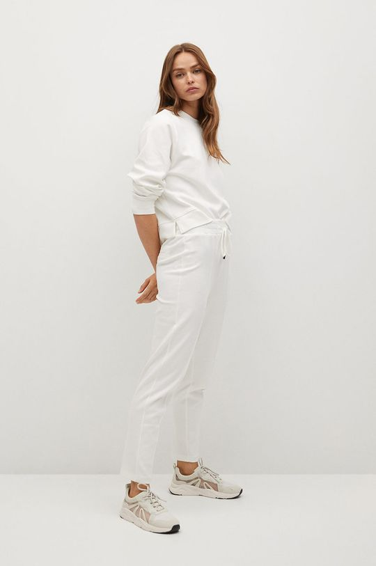 Mango - Spodnie PIQUE8 biały