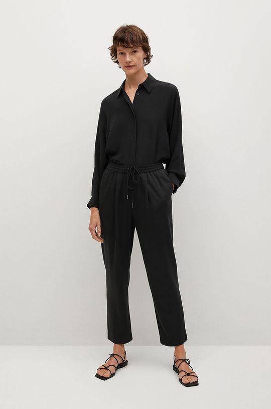 Mango - Kalhoty FLUIDO černá