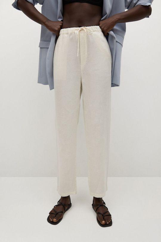 biały Mango - Spodnie Linen Damski