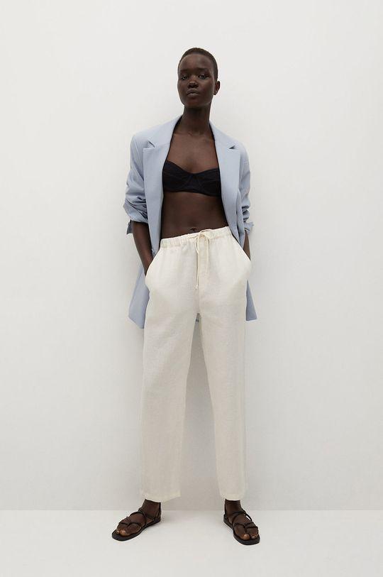 Mango - Spodnie Linen biały
