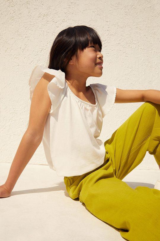 Mango Kids - Spodnie dziecięce Harper 116-164 cm żółty