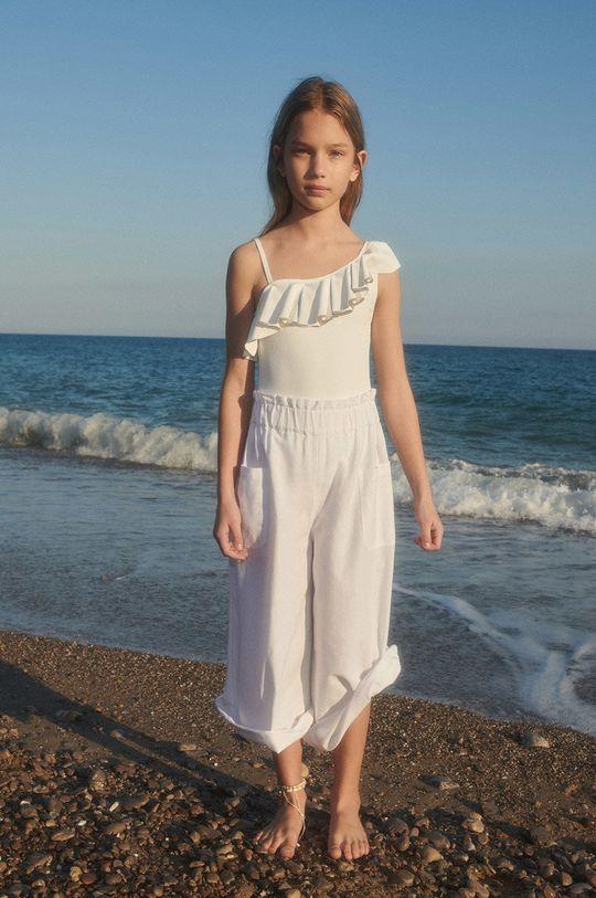 biały Mango Kids - Spodnie dziecięce Nayara 110-164 cm Dziewczęcy