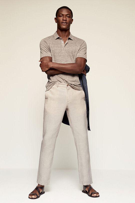 Mango Man - Kalhoty OYSTER béžová
