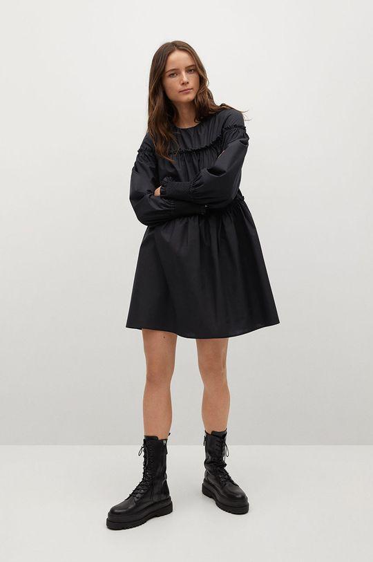 Mango - Sukienka Lin czarny