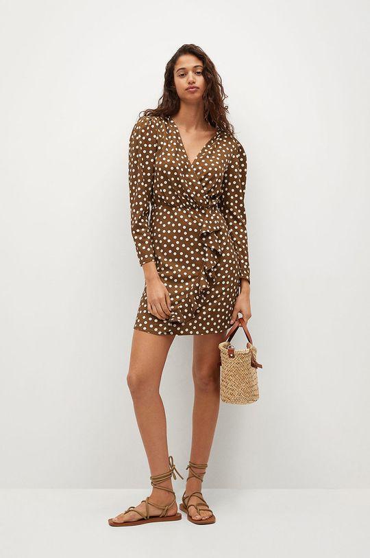 brązowy Mango - Sukienka REAL