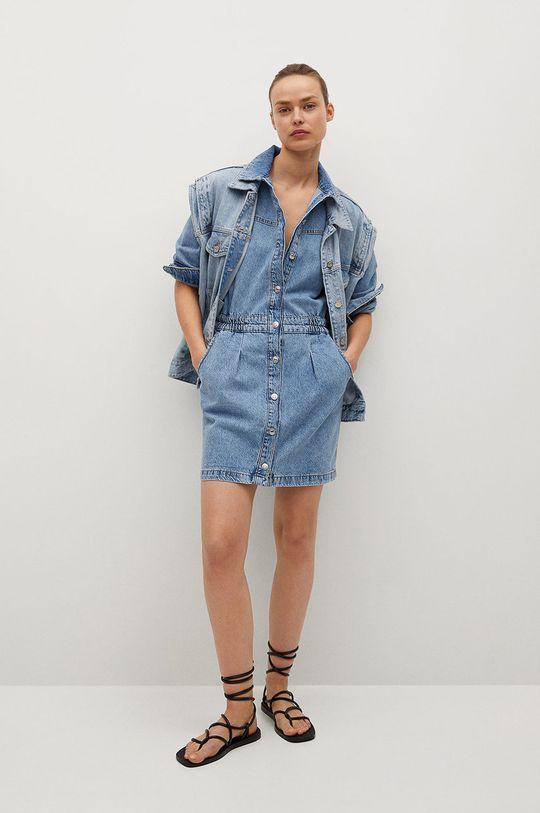 Mango - Rifľové šaty Luna modrá