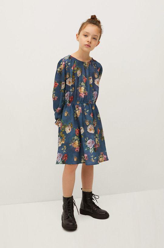 modrá Mango Kids - Dívčí šaty ROSAS Dívčí