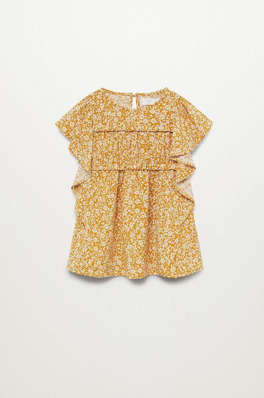 żółty Mango Kids - Sukienka dziecięca Moss 80-110 cm Dziewczęcy