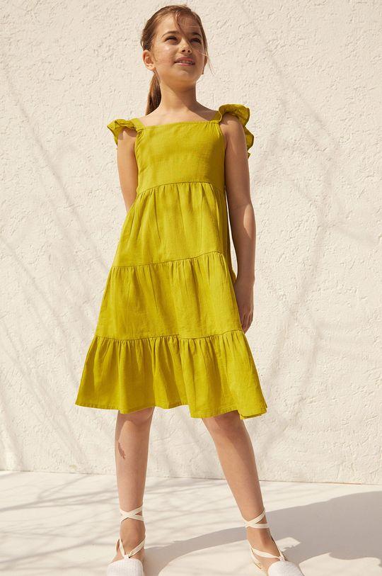 Mango Kids - Dievčenské šaty SIENNA žltá