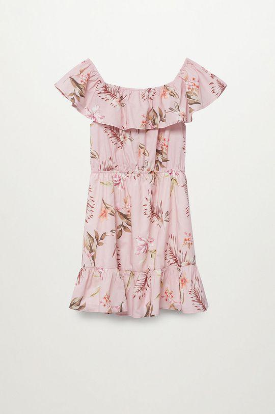 Mango Kids - Sukienka dziecięca Dressy 116-164 cm pastelowy różowy