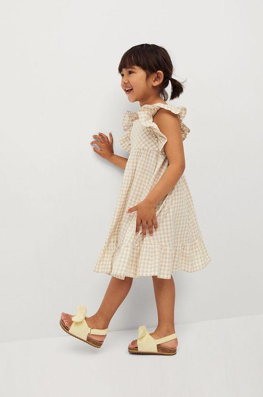 Mango Kids - Sukienka dziecięca Ani 80-110 cm pszeniczny