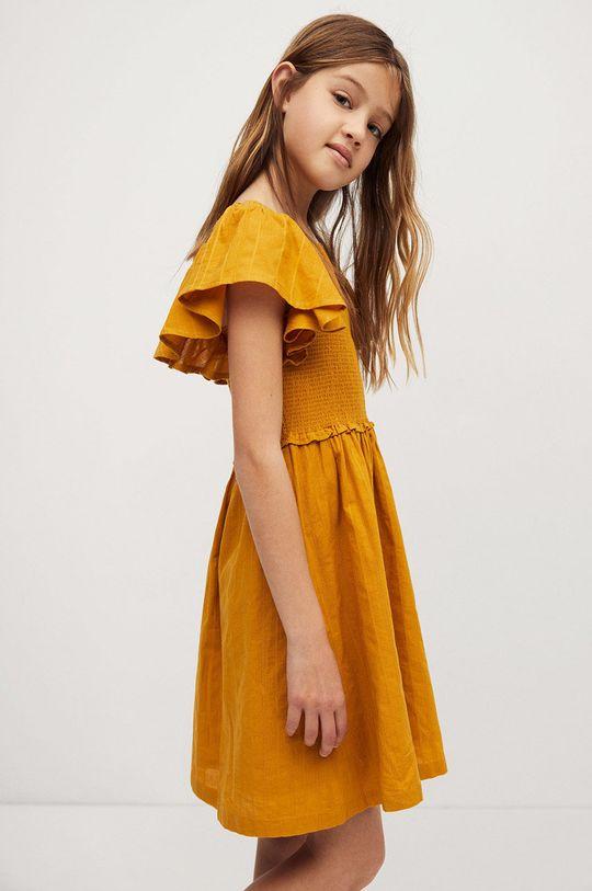 žltá Mango Kids - Dievčenské šaty Natalie 110-164 cm Dievčenský