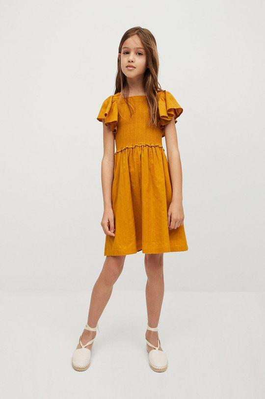 Mango Kids - Dievčenské šaty Natalie 110-164 cm žltá