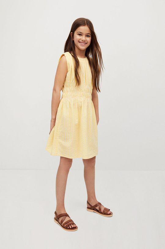 żółty Mango Kids - Sukienka dziecięca SOL Dziewczęcy