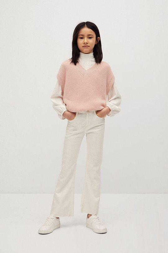 Mango Kids - Kamizelka dziecięca Vera 116-164 cm pastelowy różowy