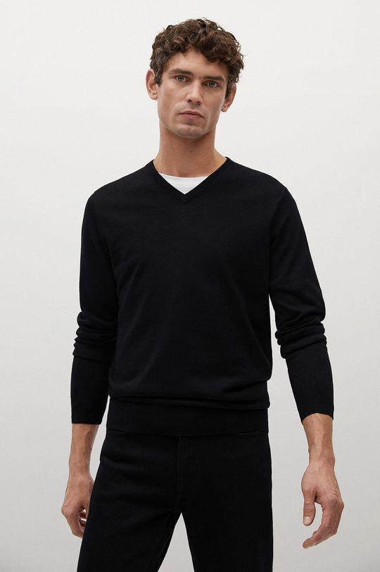 czarny Mango Man - Sweter wełniany WILLYV Męski