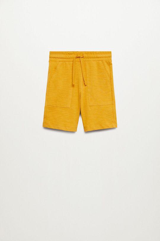 žltá Mango Kids - Detské krátke nohavice Slub8 110-164 cm Chlapčenský