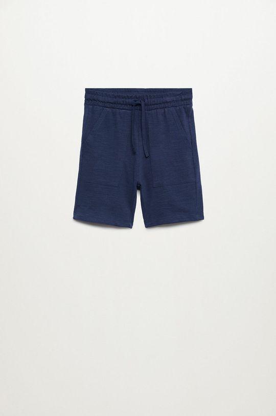 tmavomodrá Mango Kids - Detské krátke nohavice Slub8 110-164 cm Chlapčenský
