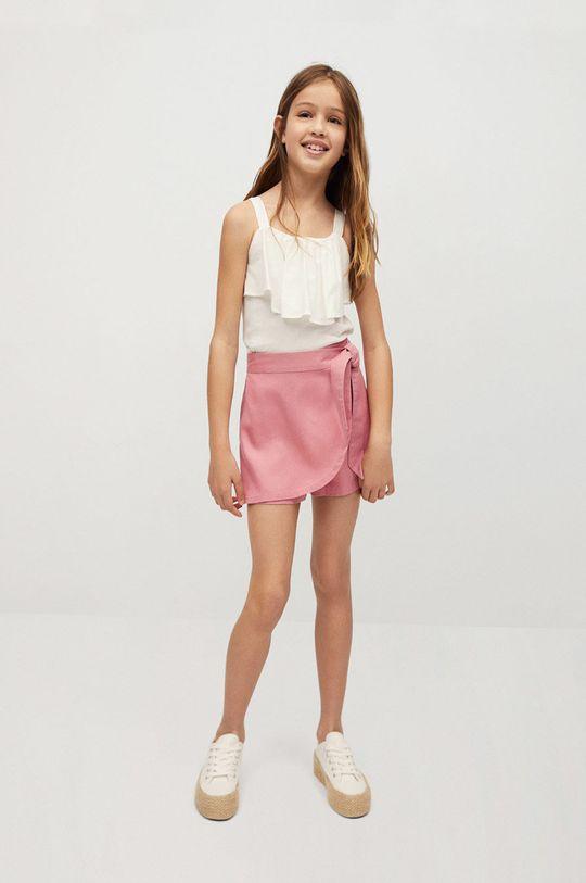 Mango Kids - Szorty dziecięce Lines 116-164 cm pastelowy różowy