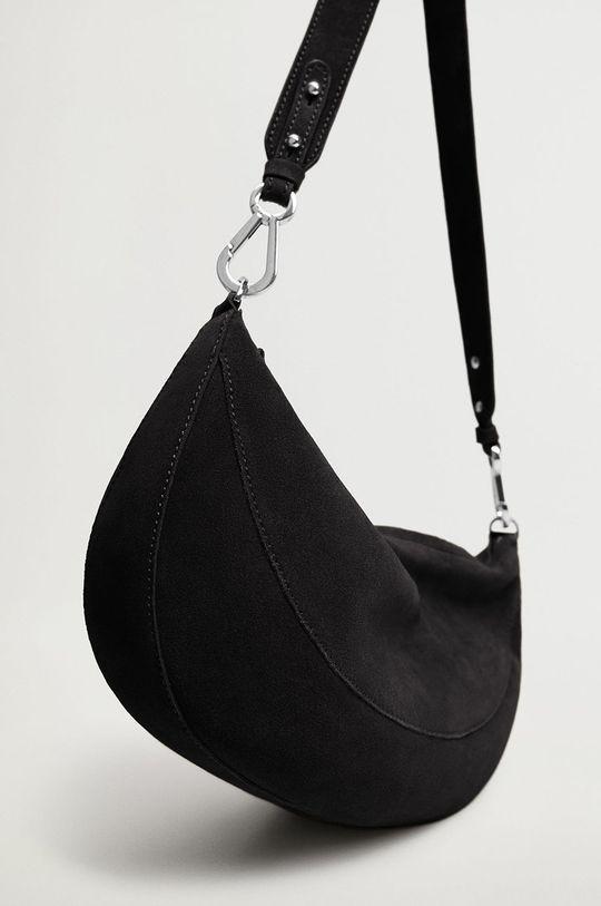 Mango - Kožená kabelka YORK čierna