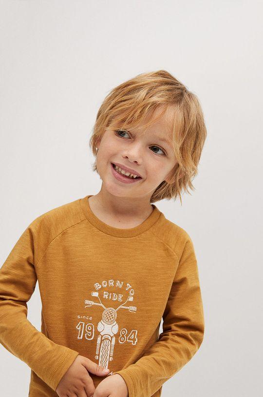 гірчичний Mango Kids - Дитячий лонгслів MOTO Для хлопчиків