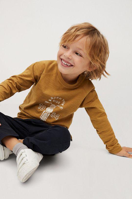 Mango Kids - Дитячий лонгслів MOTO гірчичний
