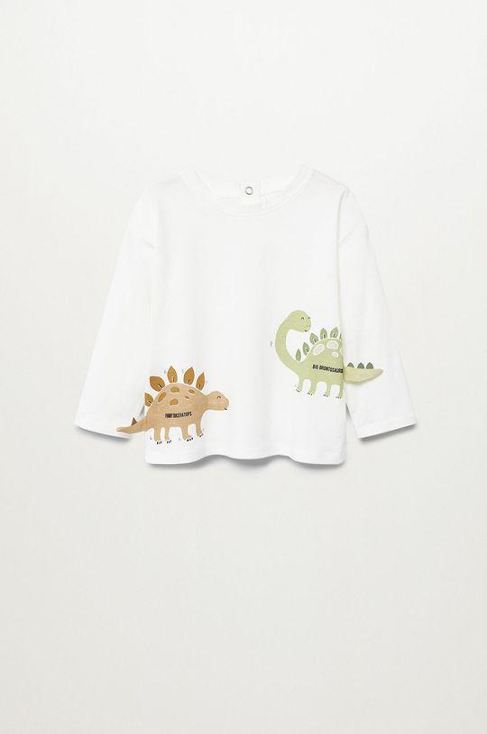 biela Mango Kids - Detské tričko s dlhým rukávom DINO Chlapčenský
