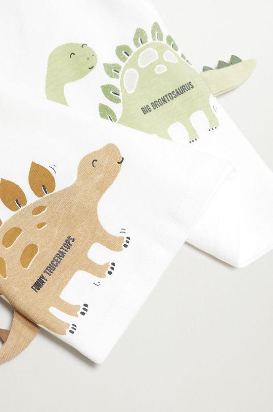 Mango Kids - Detské tričko s dlhým rukávom DINO biela