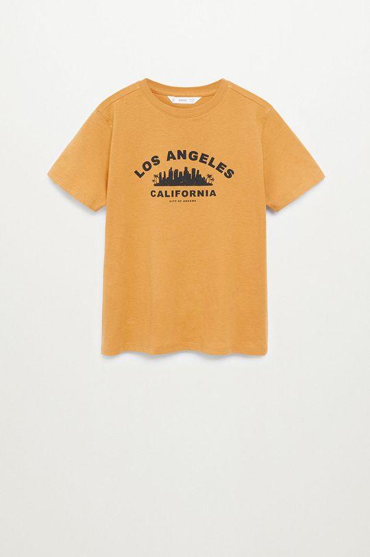 musztardowy Mango Kids - T-shirt dziecięcy CITIES8 Chłopięcy