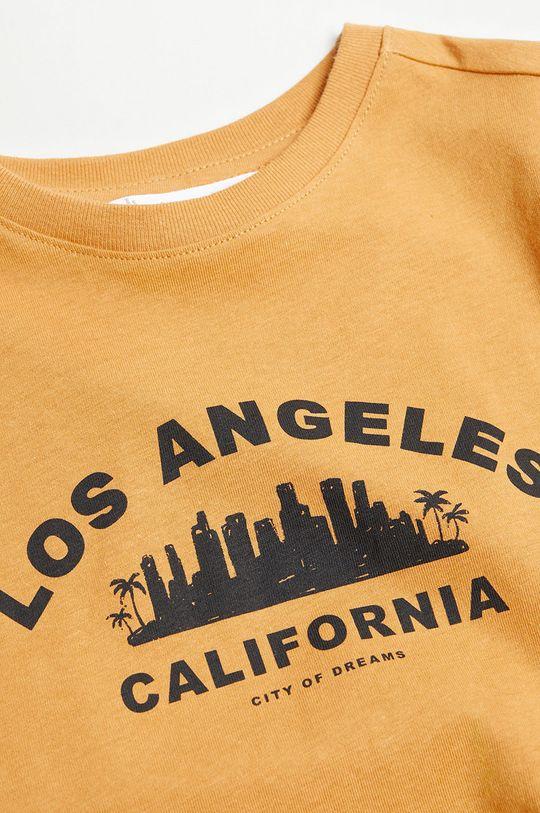 Mango Kids - T-shirt dziecięcy CITIES8 musztardowy