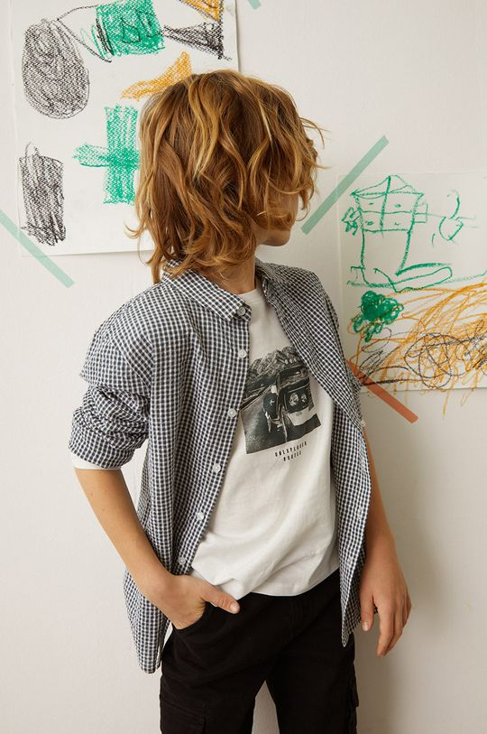 Mango Kids - Longsleeve copii ROUTES alb
