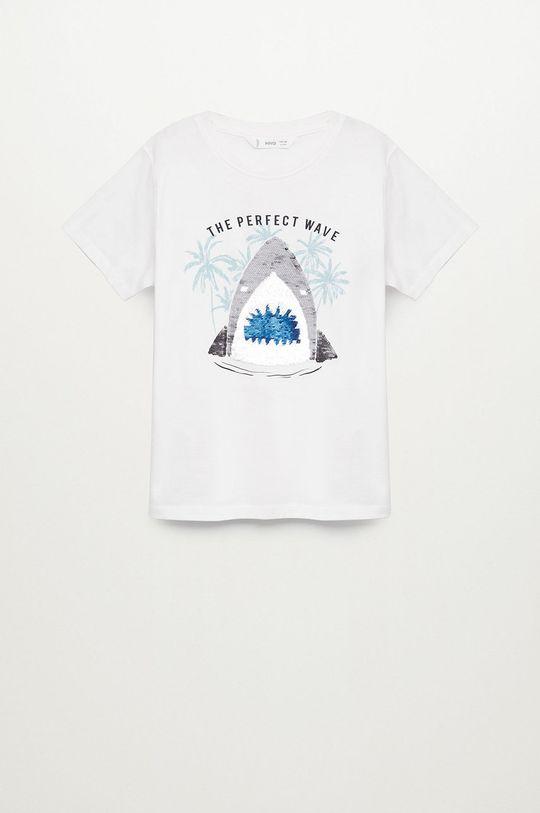 biały Mango Kids - T-shirt dziecięcy Sequin 110-152 cm Chłopięcy