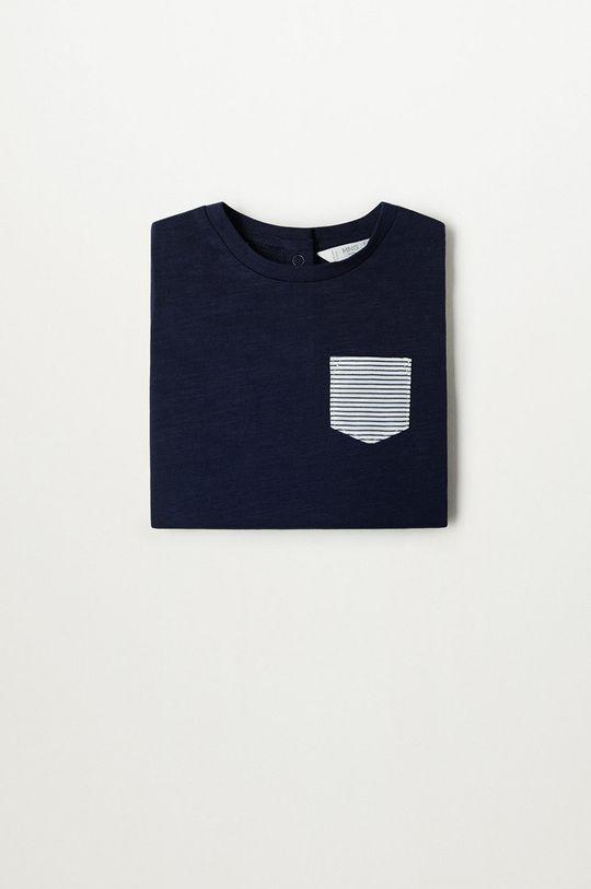 Mango Kids - Dětské tričko Basic8 80-104 cm námořnická modř