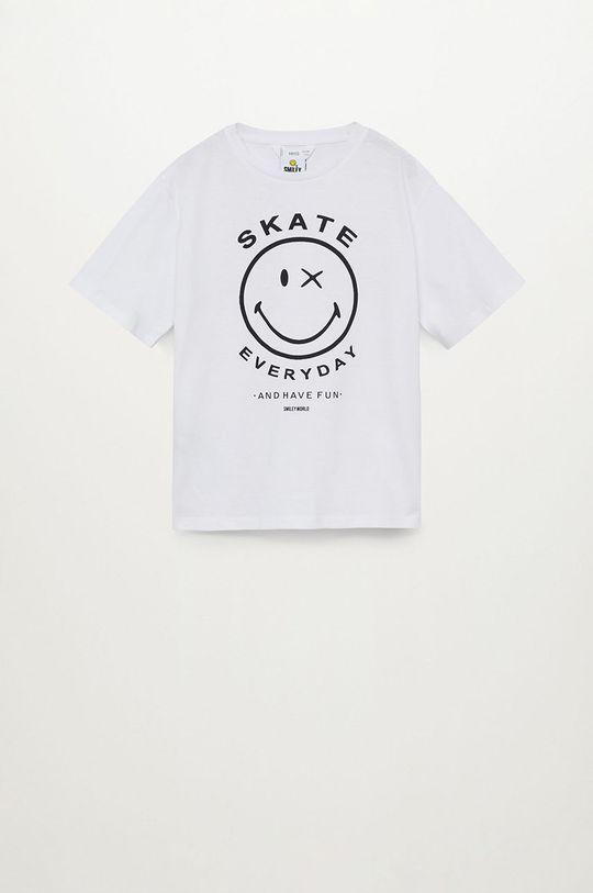 biały Mango Kids - T-shirt dziecięcy Smiley 110-164 cm Chłopięcy