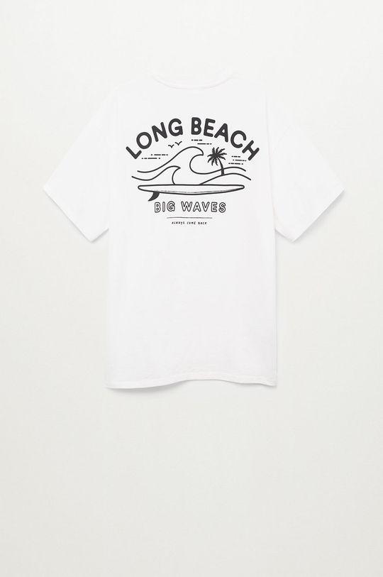 Mango Kids - T-shirt dziecięcy Longt biały